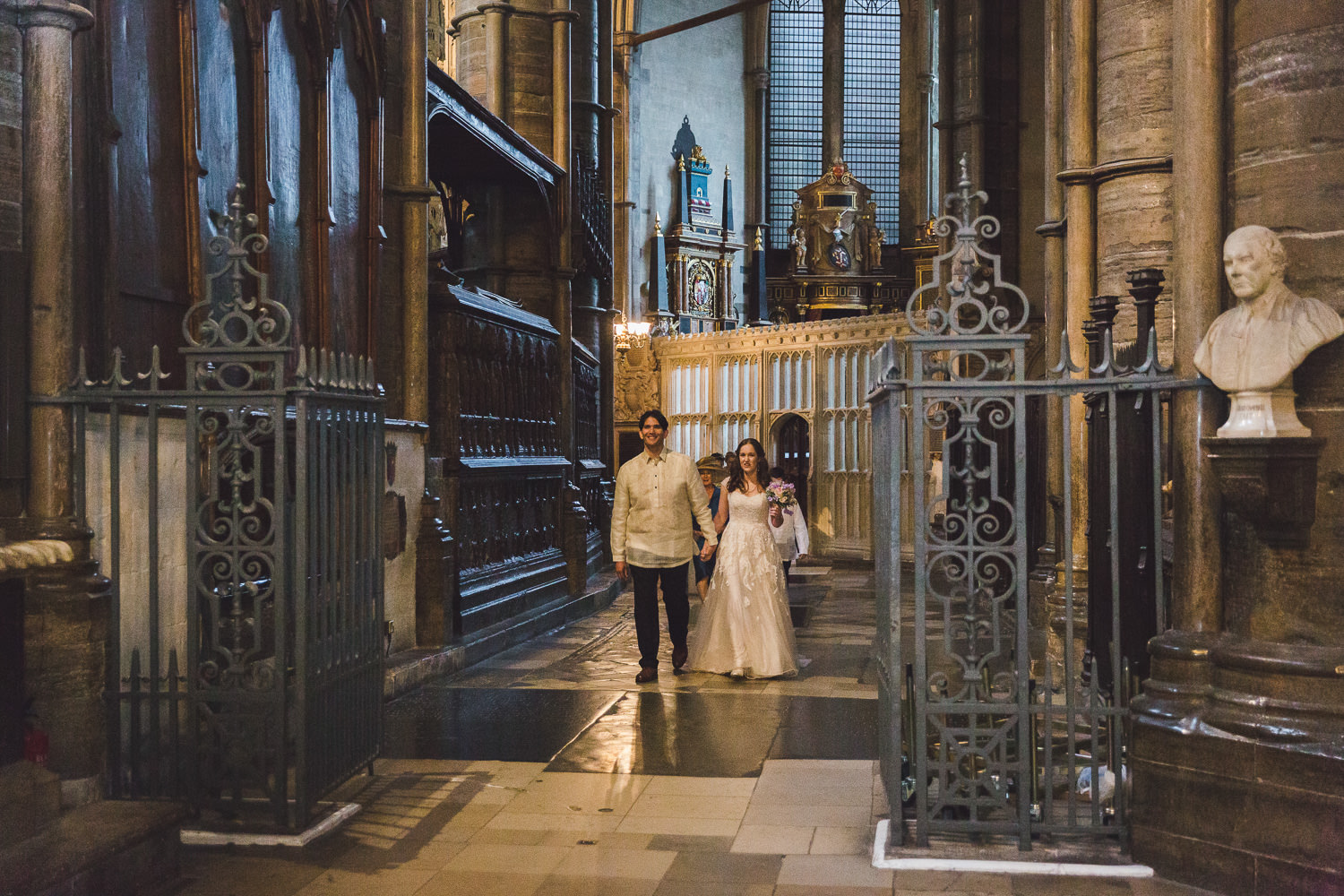 married couple after service in westminster abbey