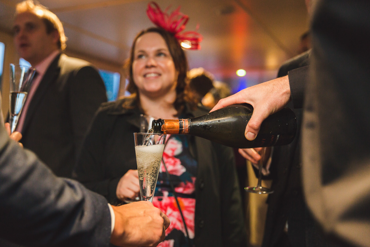 wedding drinks reception on boat thames